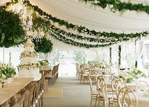 wedding reception ideas with draped greenery and fabric