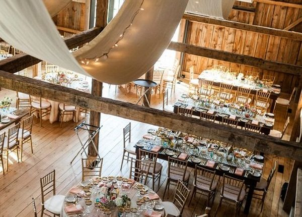 wedding reception set in a barn