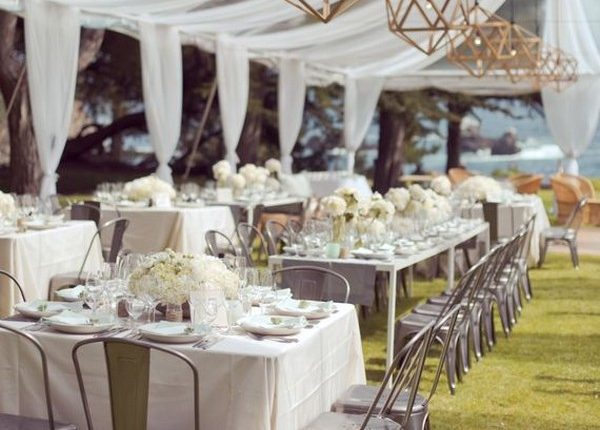wedding reception tent had two different table setups