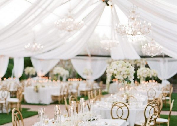 white and greenery tented wedding reception ideas