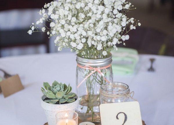Baby's breath Wooden number Succulent Wedding Centerpiece