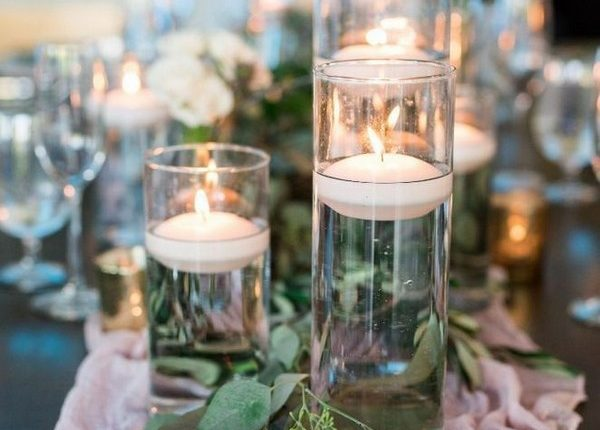 Floating Candle and Seeded Eucalyptus Wedding Centerpieces
