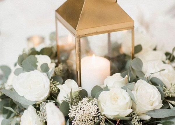 Gold lantern eucalyptus wedding centerpieces