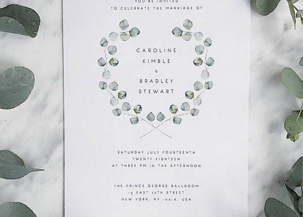 Green Wreath Eucalyptus Wedding Invitation Silver Leaf