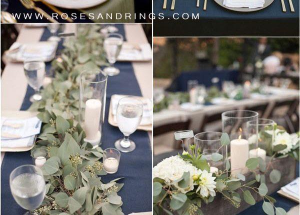 Greenery and navy blue wedding table decor ideas