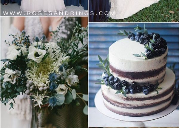 Navy blue and greenery wedding color ideas2