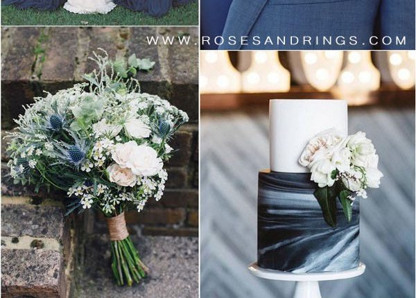 Navy blue and greenery wedding color ideas3