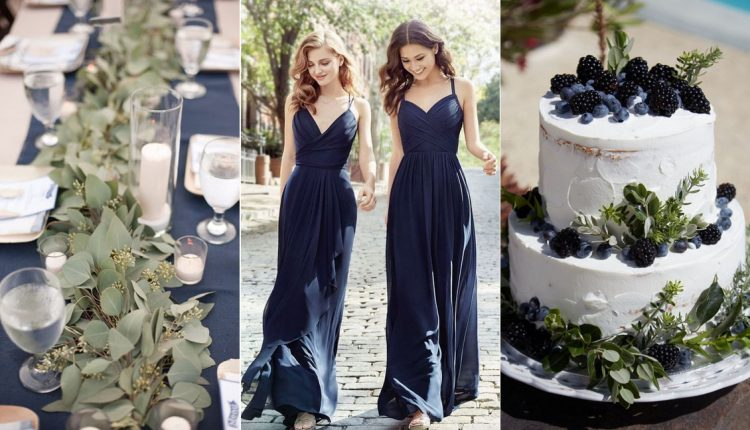 Navy blue and greenery wedding color ideas4