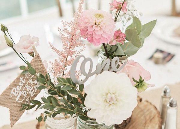 Pink Flowers Eucalyptus Dahlia Wood Slice Laser Cut Name Hessian Flag Runner Wedding Centerpiece