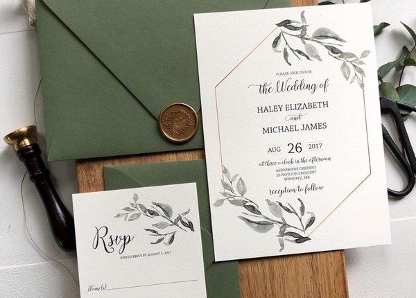 Rustic and Greenery Wedding Invitation