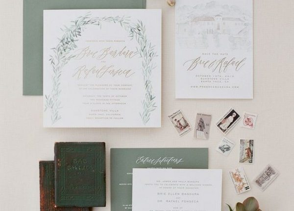Rustic chic sage green wedding paper suite