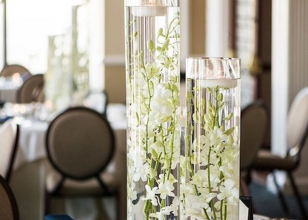 Tall Centerpiece Floating Candles Dendrobium Orchids