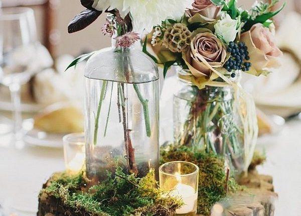 Tree slices wedding centerpieces