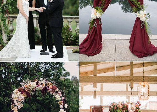 burgundy maroon and marsala wedding arch and altar ideas