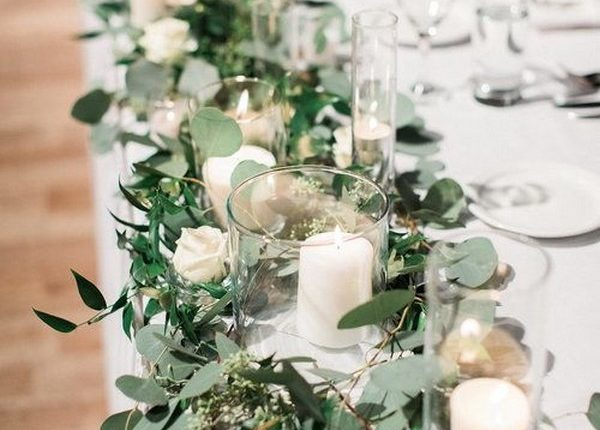chic long table wedding centerpiece ideas