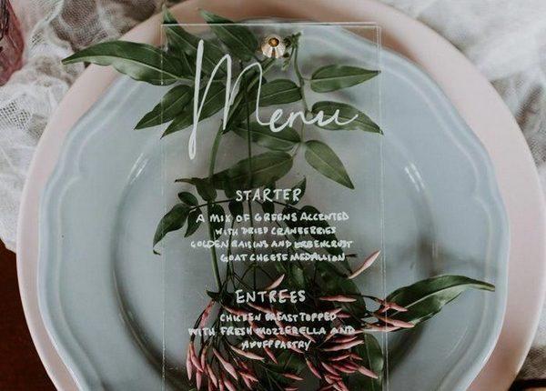 clear acrylic wedding menu and sage green this botanical wedding table setting