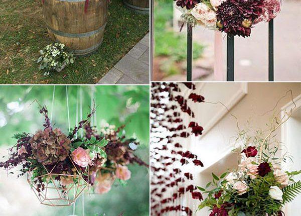 creative burgundy and marsala fall wedding decoration ideas