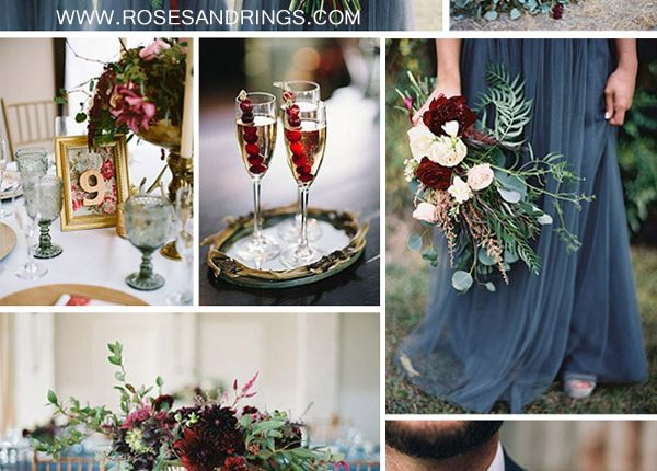 dusty blue burugndy and gold fall wedding color inspiration