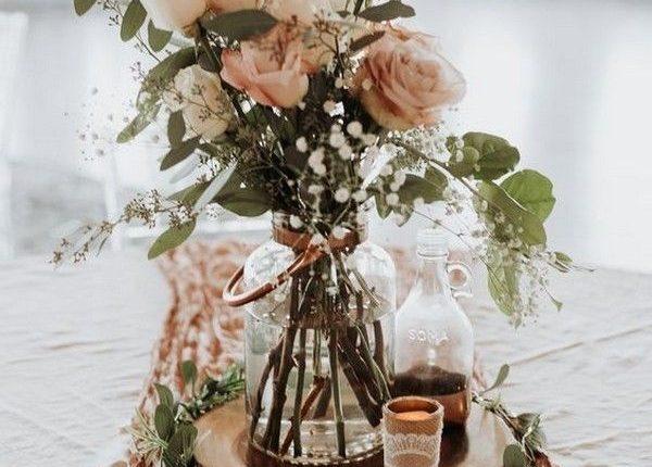 dusty rose wedding centerpiece ideas