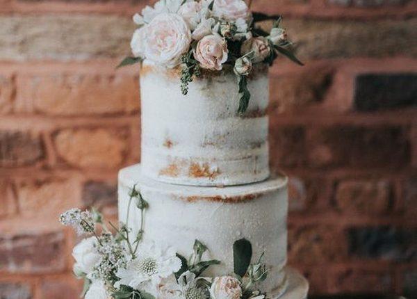 elegant blush and sage green semi naked wedding cake