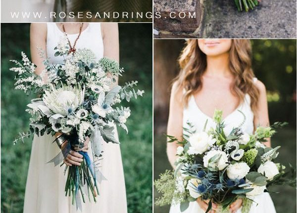 greenery and navy blue wedding bouquets