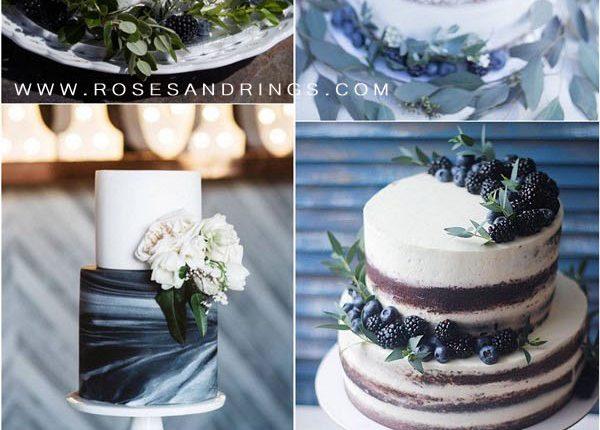 greenery and navy blue wedding cake ideas