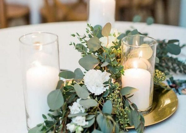 greenery seeded eucalyptus and candle wedding centerpiece ideas