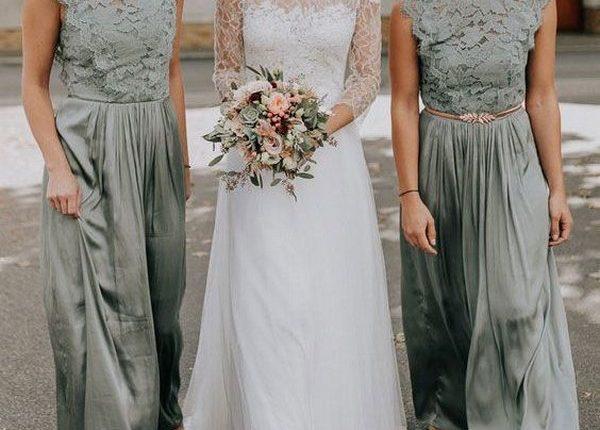 long lace sage green bridesmaid dresses