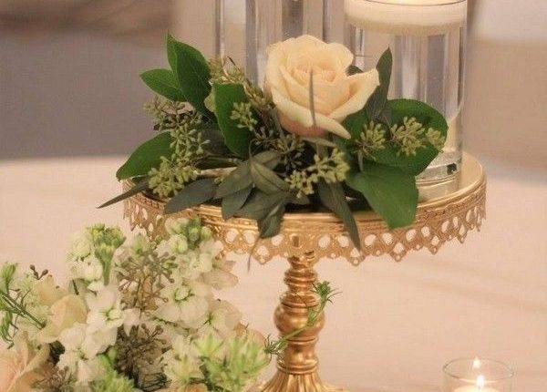 low wedding reception centerpiece white and green