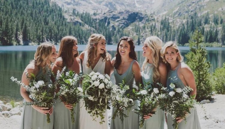 mix and matched greenery bridesmaid dresses_cr