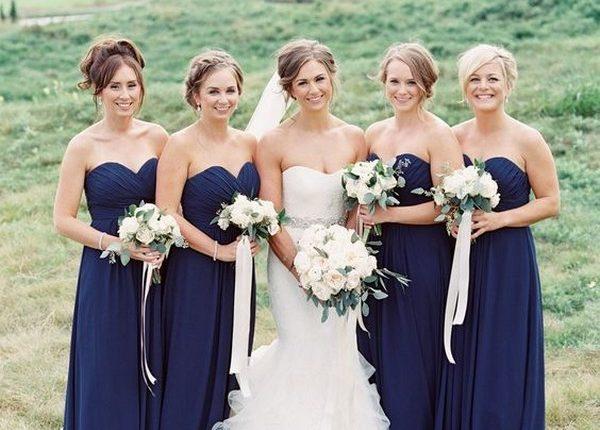 navy blue bridesmaid dresses sweetheart
