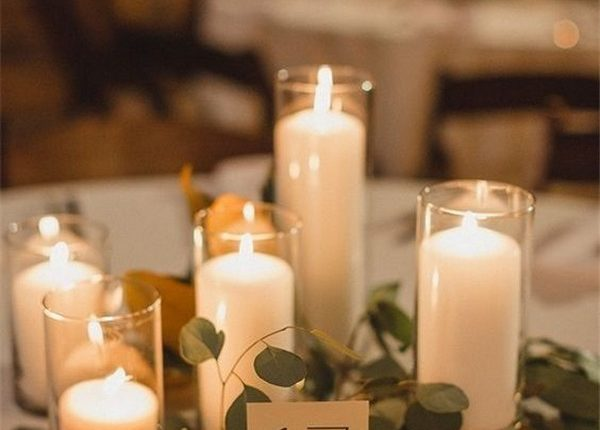 romantic candles wedding centerpiece ideas