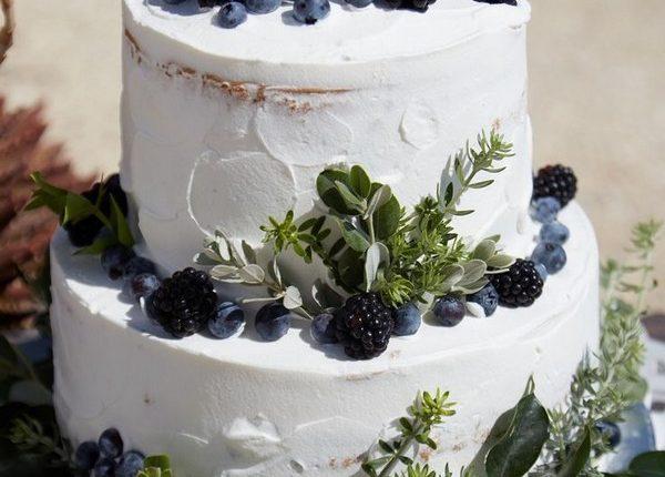rustic blueberry wedding cake