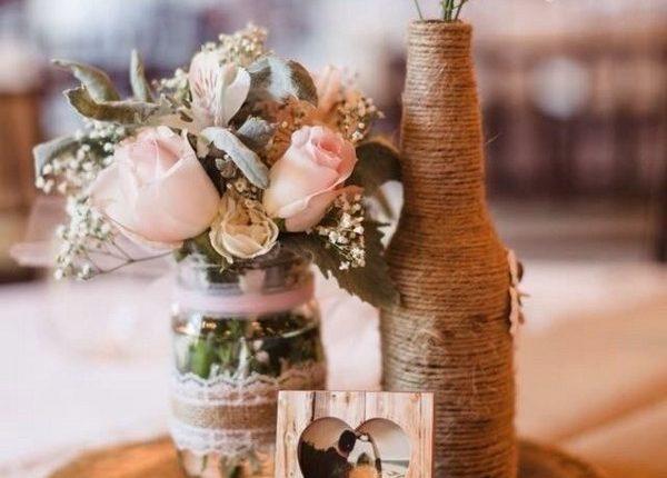 rustic tree stump wedding centerpiece