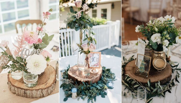 rustic tree stump wedding centerpieces