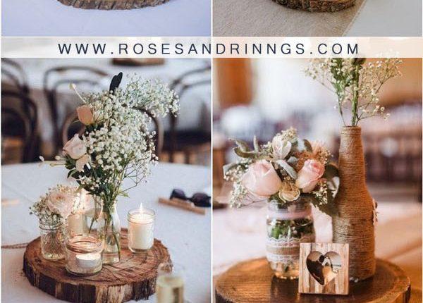 rustic tree stump wedding centerpieces1