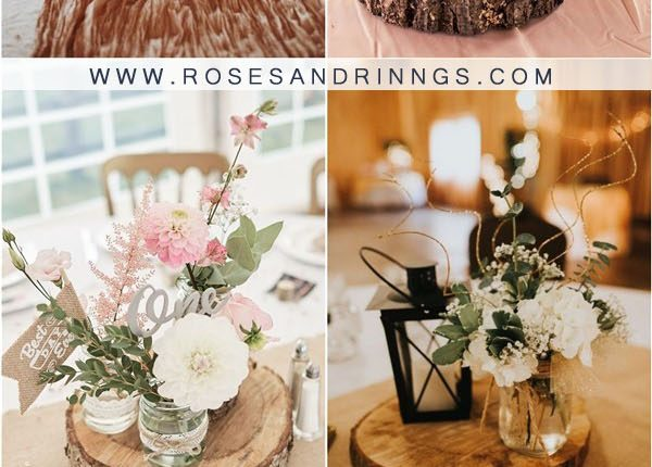 rustic tree stump wedding centerpieces2