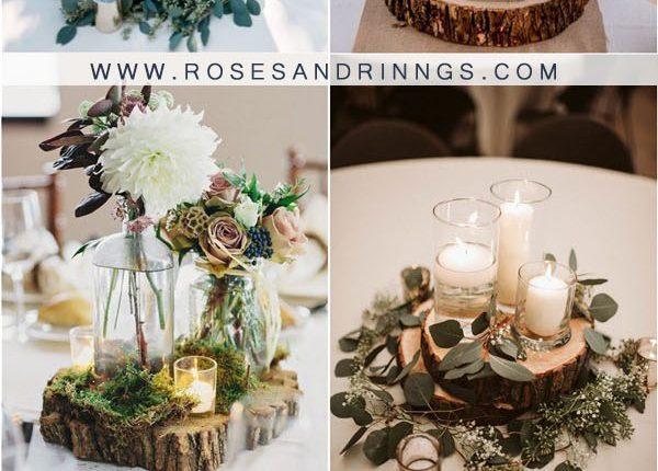 rustic tree stump wedding centerpieces3