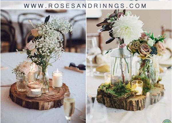 rustic tree stump wedding centerpieces4