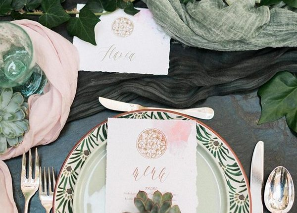 sage forest green and blush with gold wedding table setting ideas