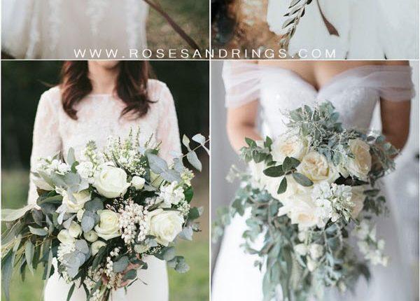 silver sage greenery wedding bouquets