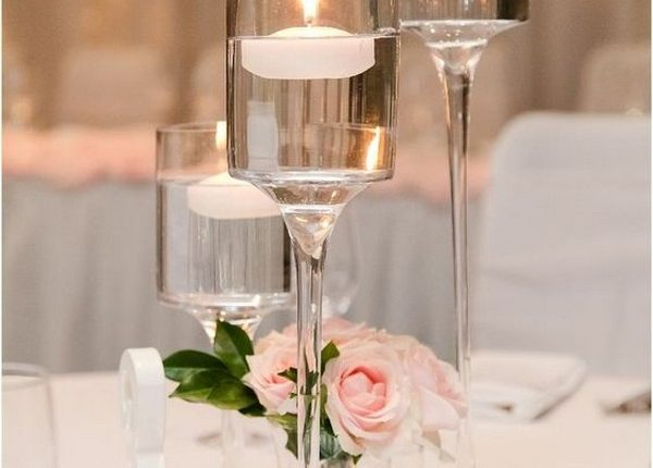 simple floating candles wedding centerpiece
