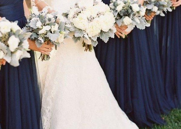 single shoulder navy blue bridesmaid dresses 2