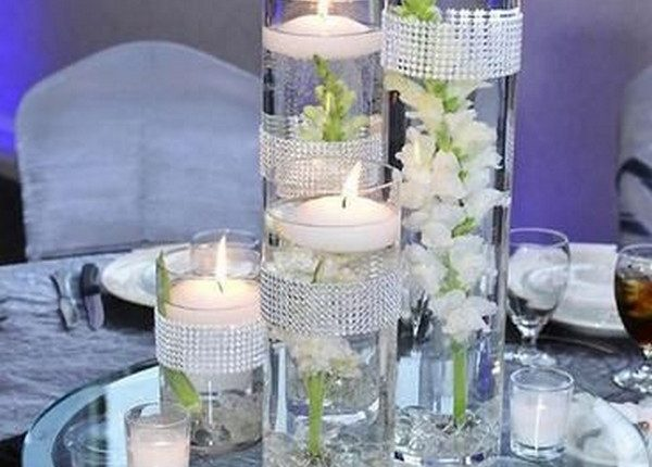 vintage white floating wedding centerpiece