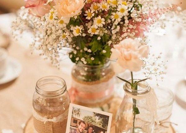 wildflowers wedding centerpiece with tree stump