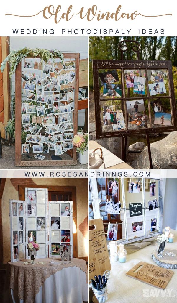 Old Window Wedding Photo Display Ideas for Outdoor Weddings