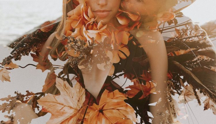 double exposure couples engagement beach and floral photoshoot