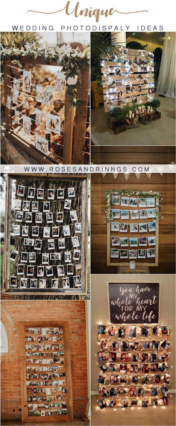 rustic wedding photo display ideas