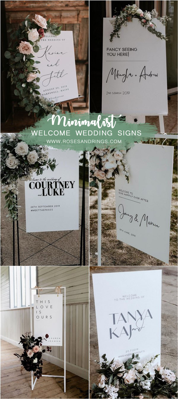 Minimalist simple wedding welcome sign ideas