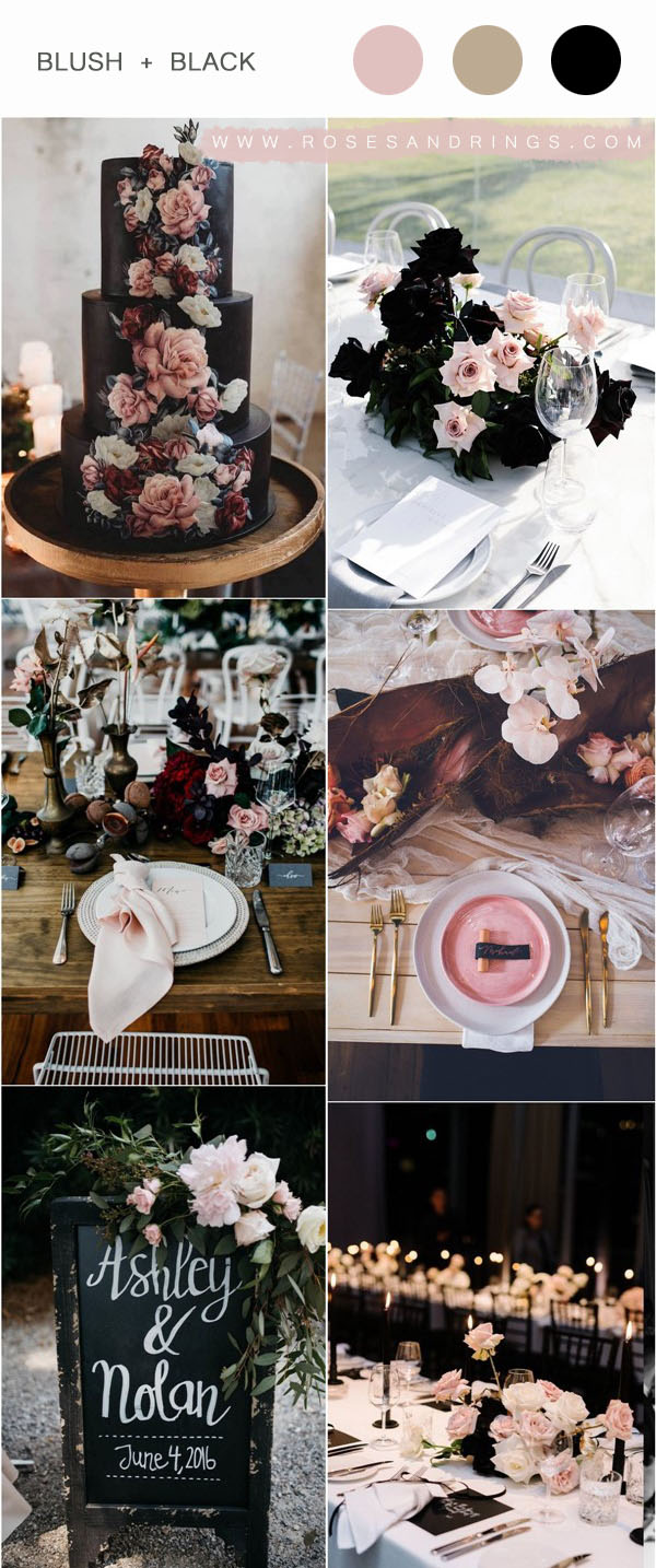 20 Modern Blush and Black Wedding Color Ideas | Roses & Rings